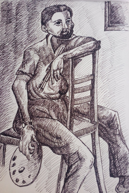 Black and White, Black, White, Pencil, Sketch, Painting, Beauty, Beautiful, Scenic, Pretty, Artist, Pallete, Chair, Man, Sitting, Art,AN ARTIST'S STYLE,ART_2709_19573,Artist : Zeel Savla,Markers