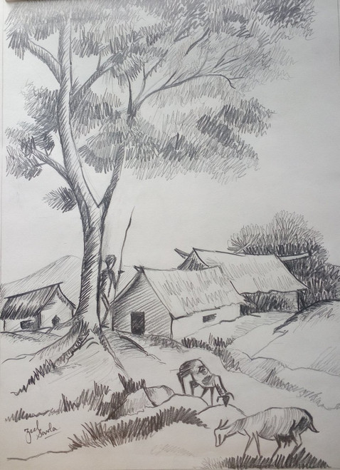 Black and White, Black, White, Pencil, Sketch, Painting, Beauty, Beautiful, Scenic, Pretty, Village, Trees, Landscape, Goats, Grass, Eating,SIMPLE JUST LIKE BLACK AND WHITE,ART_2709_19570,Artist : Zeel Savla,Pencil