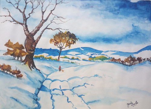 Snow, Trees, North, White, Blue, Man, Dog, Walk, Painting, Beauty, Beautiful, Colourful, Scenic, Pretty,  Colours,WINTER IS COMING!,ART_2709_19525,Artist : Zeel Savla,Water Colors
