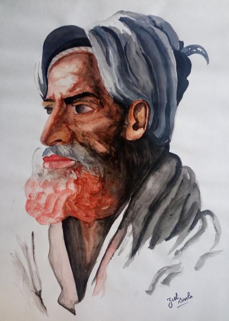Portrait, Face, Beard, Side face, Turban, Olden days, Features, Painting, Beauty, Beautiful, Colourful, Scenic, Pretty,  Colours,PORTRAIT,ART_2709_19524,Artist : Zeel Savla,Water Colors