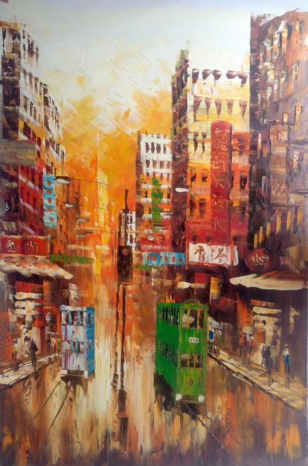 hong kong, rainy day, city, cityscape, tram, skyscraper,Rainy day in Central Hong Kong,ART_2701_19496,Artist : Sharmishtha Khichar,Acrylic