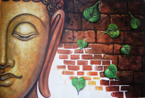 Buddha Leaves 1 - 36in X 24in,ART_PIJN16_3624,Acrylic Colors,Artist Pallavi Jain,Museum Quality - 100% Handpainted,God,Buddha,God of Prosperity,Buddha hidden in thuoghts - Buy Paintings Online in India