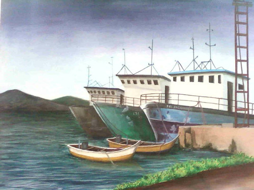 still life, contemporary, realistic, hyperrealistic, seascape paintings, ships, , daily life, ,HARBOUR ,ART_2689_19427,Artist : Ch Divya,Acrylic