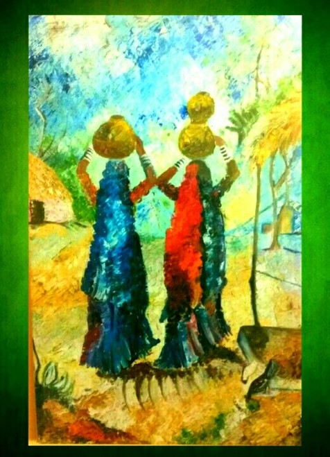 ,Village scene with two lady,ART_2648_19420,Artist : Payal Shah,Oil