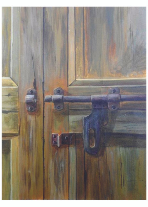 realistic paintings, hyper realistic, still life, modern, interior, door, small size paintings , contemporary,untitled,ART_2689_19418,Artist : Ch Divya,Acrylic