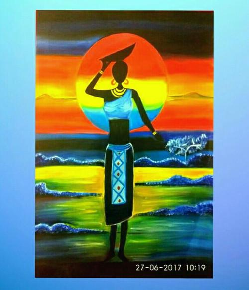 ,Lady in sunset,ART_2648_19417,Artist : Payal Shah,Oil