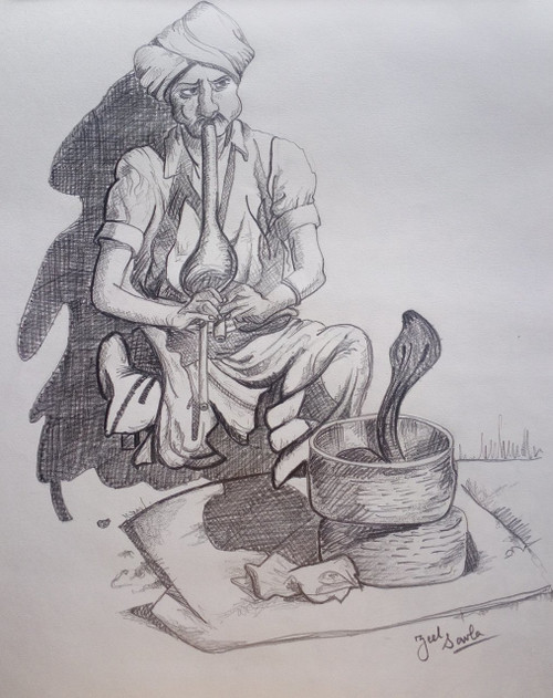 Black and White, Black, White, Pencil, Sketch, Painting, Beauty, Beautiful, Scenic, Pretty, Villager, Snake, Pungi, Folk, Culture, Entertainment,ENTERTAINMENT ONCE UPON A TIME,ART_2709_19577,Artist : Zeel Savla,Charcoal