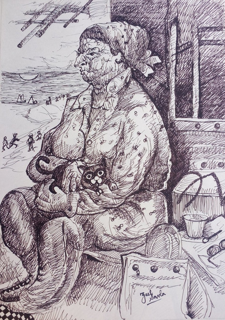 Black and White, Black, White, Pencil, Sketch, Painting, Beauty, Beautiful, Scenic, Pretty, Lady, Beach, BAsket, Food,BY THE BEACH,ART_2709_19574,Artist : Zeel Savla,Markers