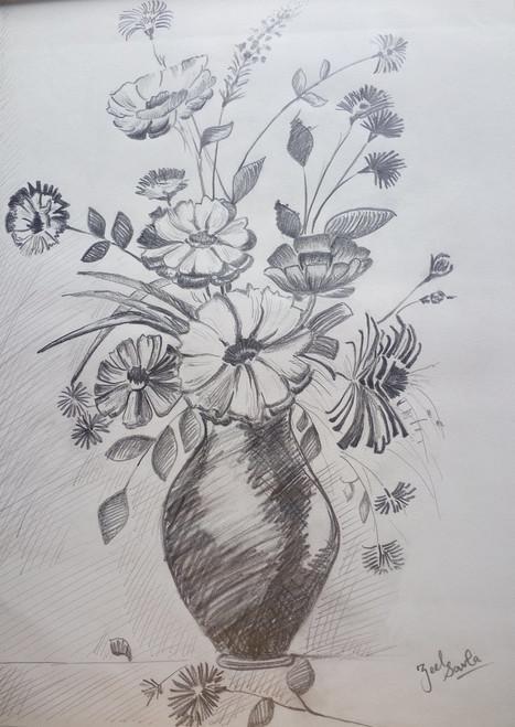 Black and White, Black, White, Pencil, Sketch, Painting, Beauty, Beautiful, Scenic, Pretty, Flowers, Pot, Vase, Flowerpot, Flowervase, Stem, Decorate, Lovely,MATURITY AND DECLINE,ART_2709_19572,Artist : Zeel Savla,Pencil