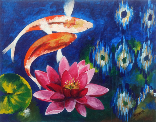 Koi pond, fish, water lily, lotus, zen,Koi Fish in a Peaceful Water Lily Scene,ART_2701_19455,Artist : Sharmishtha Khichar,Acrylic