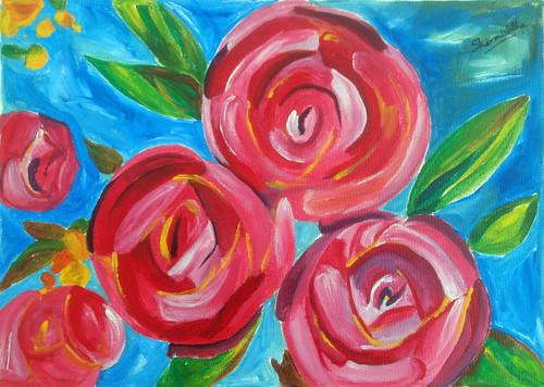 floral roses flowers modern abstract chic eclectic,Roses on Azure,ART_2701_19699,Artist : Sharmishtha Khichar,Acrylic