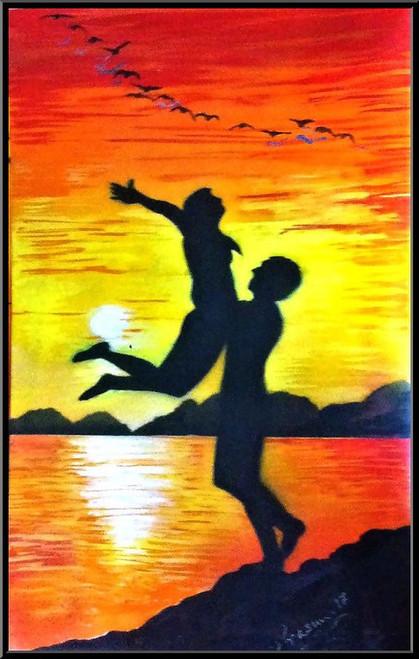 Silhouette Paintings, Sunset Paintings, Love Paintings,Leap of Love,ART_2629_19632,Artist : PRASUN ROY CHOUDHURY,Acrylic