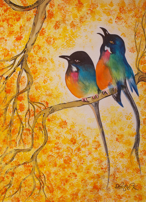 Love bird .,Bird painting.,ART_1435_19833,Artist : Sheetal Kshatriya,Acrylic