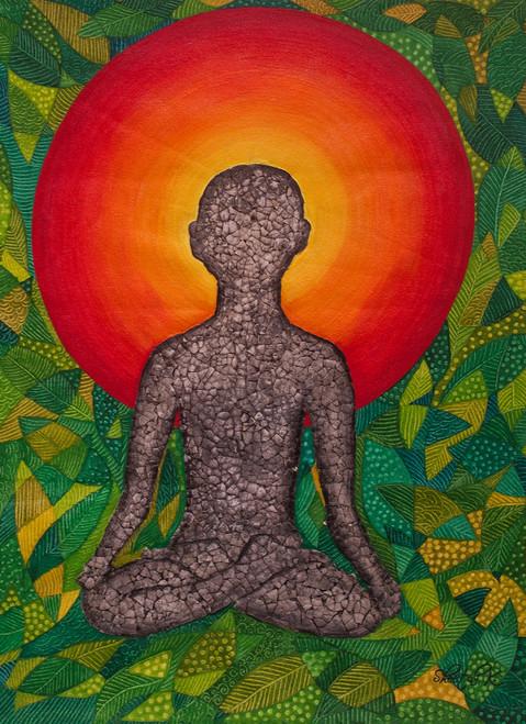 Man painting.,Yoga.,ART_1435_19832,Artist : Sheetal Kshatriya,Acrylic