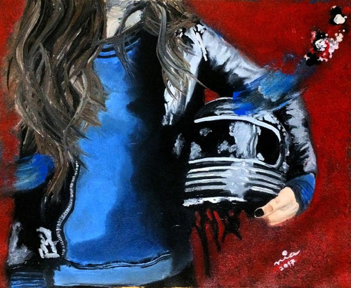 girl, lady, youth, bike, biker, modern, blue, black, leather, helmet, road, road trip, motorcycle, new, best, top selling, sale discount, hair, beautiful, portrait, classy, royal, silver, colourful, masculine, chic, uber, interior, rebel, cafe, badass,missmessyartist The Biker Chick,ART_1538_19803,Artist : NEHA PATIDAR,Mixed Media