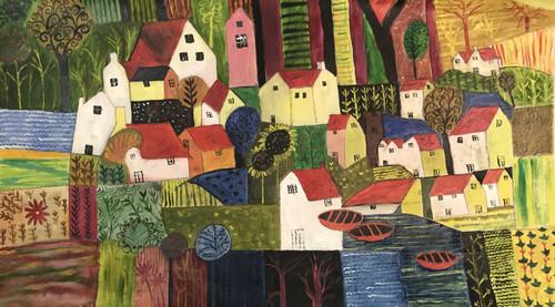 Cityscape, Houses, Colourful, tree, ,Madhubani Painting of Colourful City,ART_2790_19793,Artist : Jyoti Choudhury,Oil