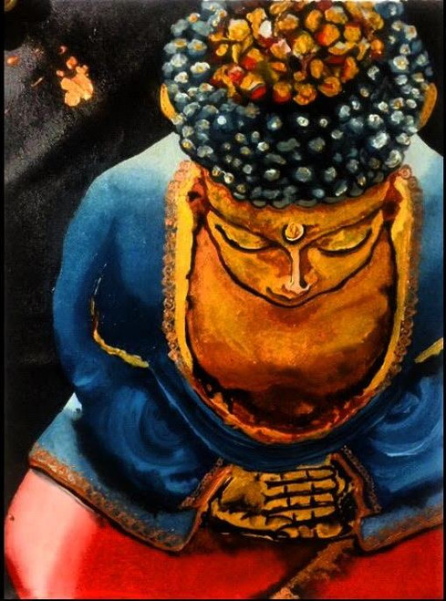 buddha, royal, peace, calm, classy, golden, gold, blue, red, black, best, top selling, famous, god, meditation, yoga, sale, discount, fashion, eyes, lips, hands, pose, solitude, gift, interior, living room, restaurant, vibrant, bright, contrast, quality,missmessyartist The Royal Buddha,ART_1538_19800,Artist : NEHA PATIDAR,Mixed Media