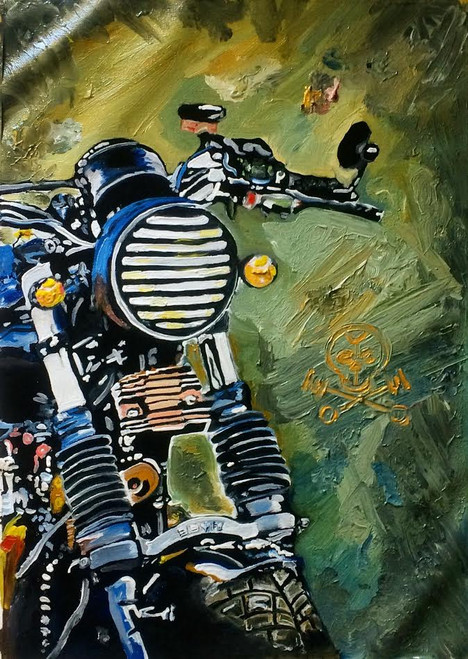 bike, motorcycle, bullet, rider, biker, bachelor, men , boy, masculine, machine, colourful, beast, classy, royal, harley davidson, triump, royal enfield, manly, splash, chaos, hero, stud, hunk, fashion, best, top, best selling, top rated, road, travel,missmessyartist motorcycle 03,ART_1538_19799,Artist : NEHA PATIDAR,Oil