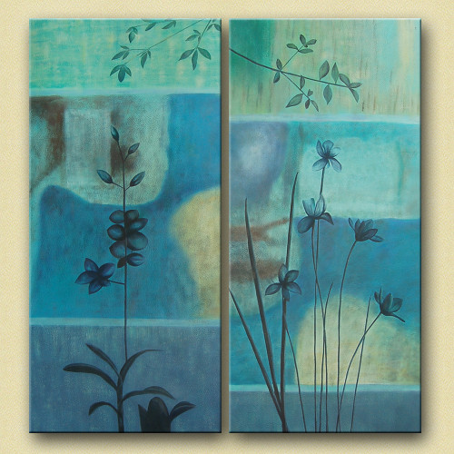 Vivid - 48in X 52in,31GRP284_4852,Blue, Violet, Mauve,120X130 Size,Multi Panel Art Canvas Painting