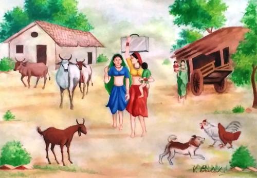 Landscape on canvas,Village scene,ART_2360_19768,Artist : Vinod Bakshi,Water Colors