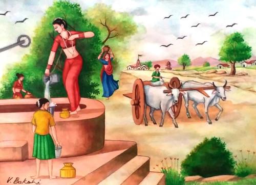 Landscape on canvas,Village scene,ART_2360_19765,Artist : Vinod Bakshi,Water Colors