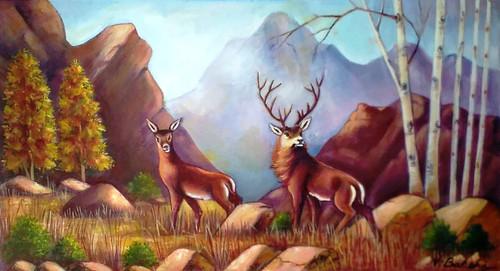 Landscape on canvas,Deers scene in forest,ART_2360_19763,Artist : Vinod Bakshi,Oil