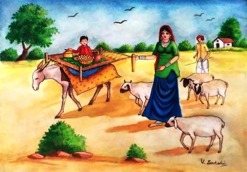 Landscape on canvas,Village scene,ART_2360_19766,Artist : Vinod Bakshi,Water Colors