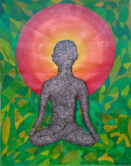 Human Drawing, person meditating, yoga painting,Human Drawing,ART_1435_15400,Artist : Sheetal Kshatriya,Acrylic