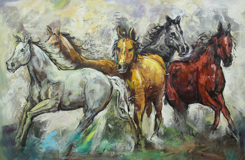 Horses ,Five lucky horse ,ART_1522_19903,Artist : Ram Achal,Acrylic