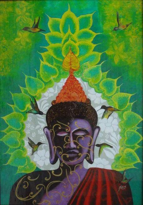 Buddha,Enlightenment of Gautama,ART_2830_19928,Artist : Kusum Bhura,Oil