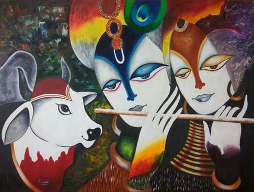,Radha krishna,ART_2830_19930,Artist : Kusum Bhura,Oil