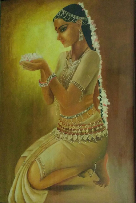 portrait,praying beauty,ART_2743_19629,Artist : Dinesh Mathur,Oil