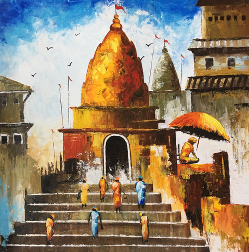Temple, knife, devotion, abstract, modern art, acrylic,Temple,ART_2668_19617,Artist : Nisha Agarwal,Acrylic