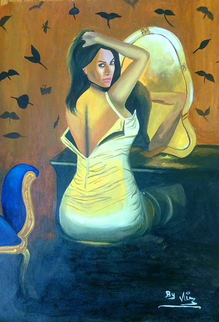 Erotic, style, fashion, mirror, love,Making up for you,ART_398_14436,Artist : Vijay Pratap,Acrylic