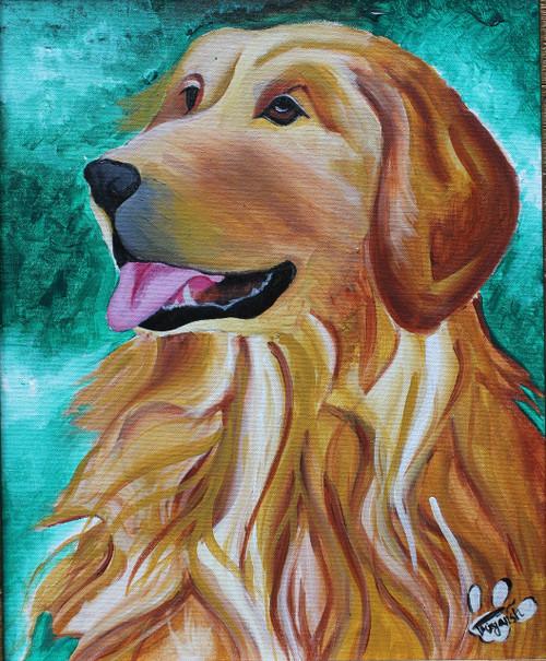 golden retriever dog,Golden Retriever,ART_2841_20012,Artist : Priyansh Thakkar,Acrylic