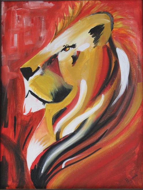 Lion,Sun Sign LEO,ART_2841_20001,Artist : Priyansh Thakkar,Acrylic