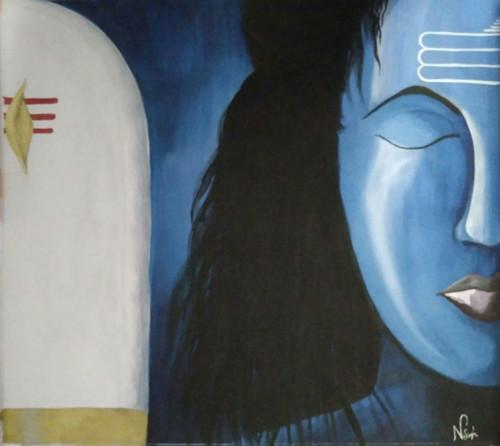 Shiva and Shivling,Lord Shiva and Shivling,ART_2819_19923,Artist : Nagendra Singh,Mixed Media