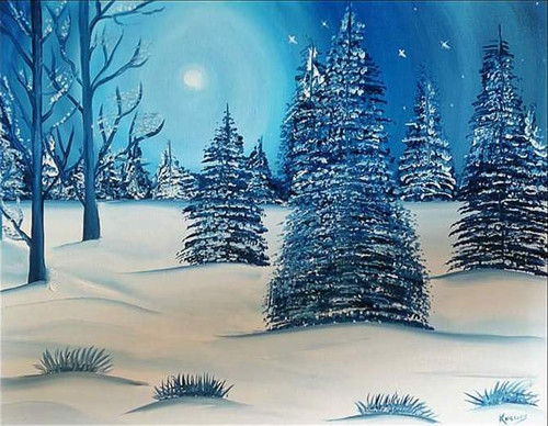 ,Snow fall,ART_2830_20039,Artist : Kusum Bhura,Oil