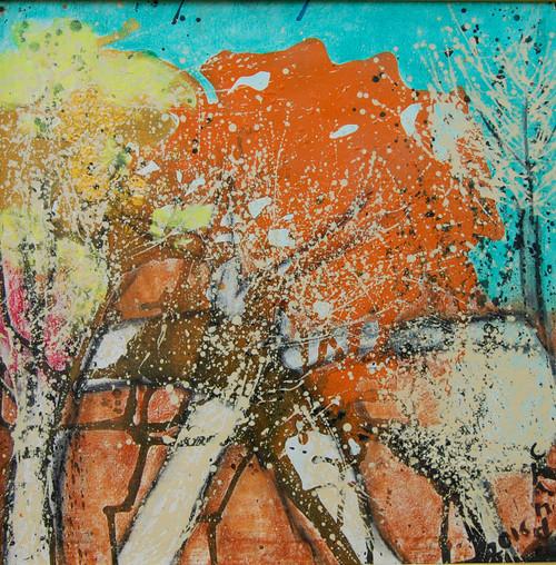 spring abtsract,TREES IN BLOOM,ART_2860_20065,Artist : Chandana Khan,Acrylic