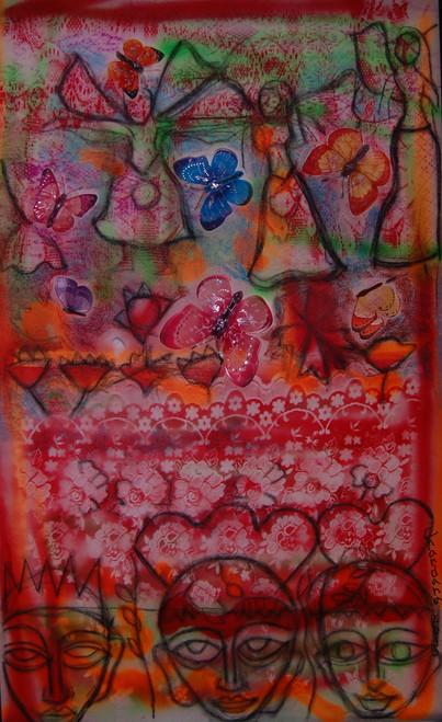 figures,butterflies abstract,FACES,ART_2860_20063,Artist : Chandana Khan,Mixed Media
