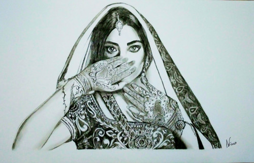 bride charcoal painting ,Beautiful Bride,ART_2819_20074,Artist : Nagendra Singh,Charcoal