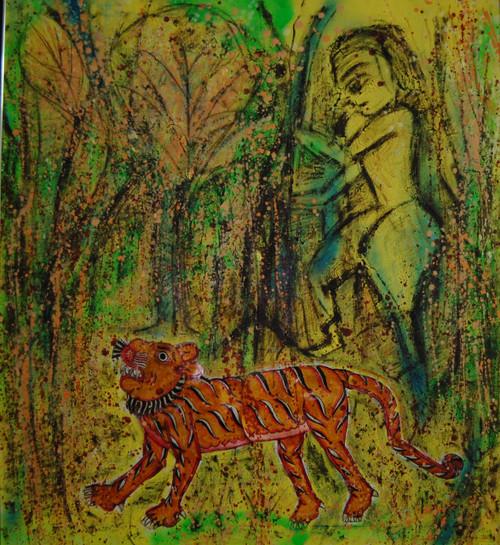 TIGER HUNTER FIGURES,THE HUNTER,ART_2860_20087,Artist : Chandana Khan,Mixed Media