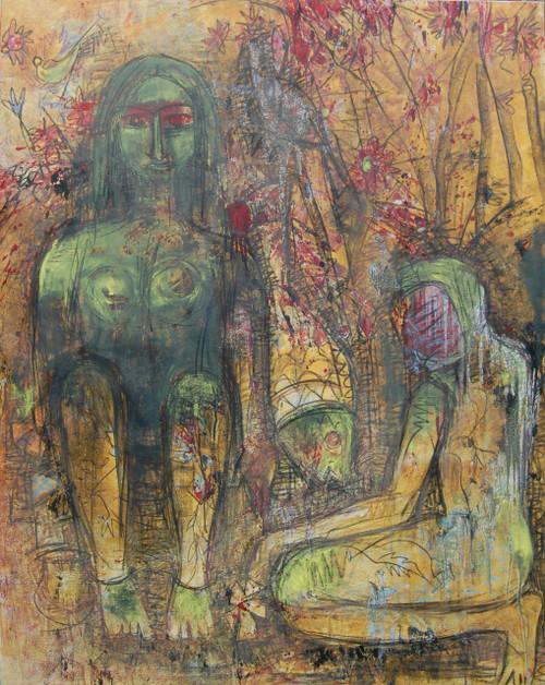 man woman abstract figures,OBEISANCE,ART_2860_20082,Artist : Chandana Khan,Mixed Media