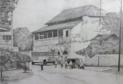 old post office,old post office,ART_329_20058,Artist : Shiva prasad Reddy,Pencil