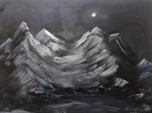 Moonlight Mountain oil painting,Moonlight Mountain oil painting,ART_2862_20181,Artist : Triveni Thorve,Oil
