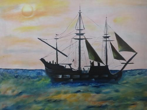 Ship in sunset view,Ship in sunset view,ART_2862_20174,Artist : Triveni Thorve,Oil