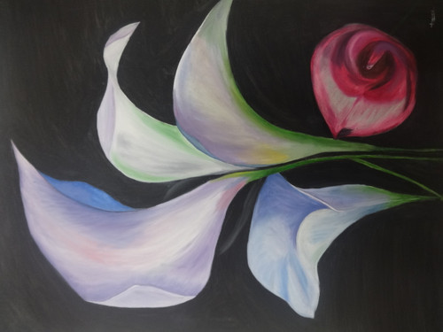 Calla Lily flower,Pink and Blue Calla Lily flowers,ART_2862_20163,Artist : Triveni Thorve,Oil