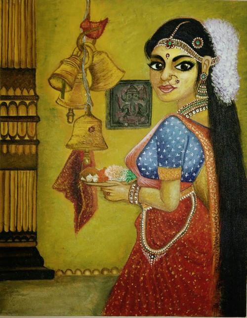 lady, beautiful lady, worship, worshiping lady, religious,Beautifully dressed up lady doing worship,ART_2872_20158,Artist : RAKHEE SHARMA,Acrylic