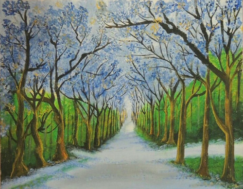 Nature, Forest, Greenery, Trees, Green trees, ,Green forest way,ART_2872_20152,Artist : RAKHEE SHARMA,Acrylic