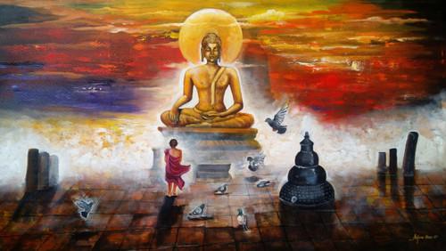 #buddha #acrylic #painting #god,buddha and monk child # 6,ART_82_20188,Artist : Arjun Das,Acrylic